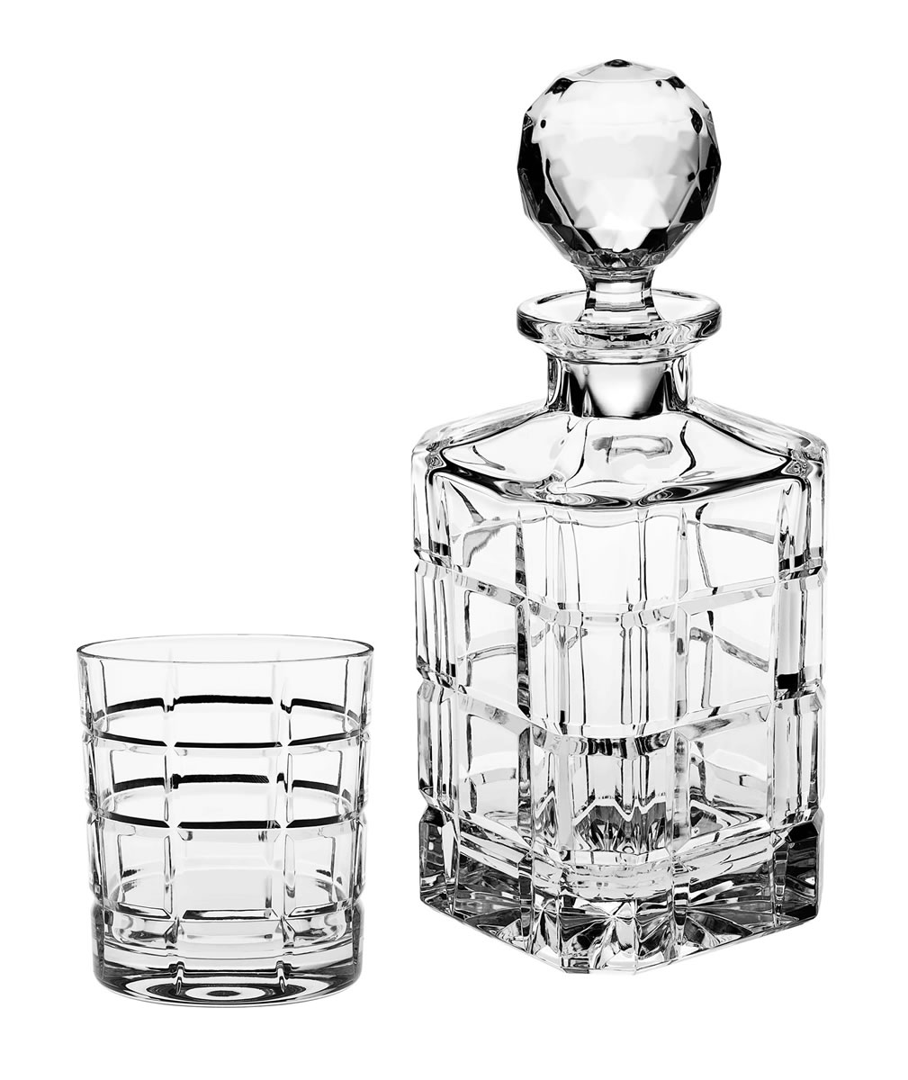Square Cut Glass Crystal Whisky DECANTER CARAFE Fluted Retro Spirit Vintage English LS