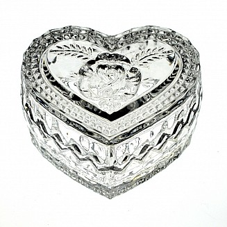 Bohemia Crystal Heart shaped box 8cm
